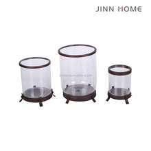 matt black cheap home decoration metal and glass hurrican candle holder 3pcs for set
