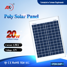 Professional solar panel manufactures with 20W 18V poly solar panel