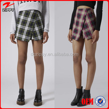 Asymmetric Check Print Magic Wrap Skort,Women Elegant Skirt Suits
