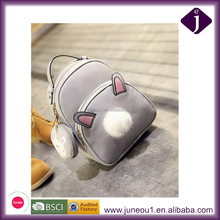 Fashion Cute Rabbit Pompon Zipper School Bag For Teenagers, PU Leather Backpack With Coin Purse