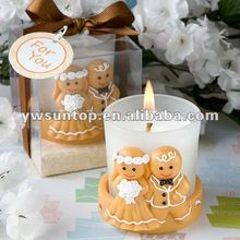 Adorable bride and groom figure resin glass candle holders for wedding gift
