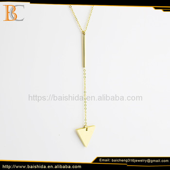 High quality fashion crystal inverted triangle shape gold plated necklaces charms with gold chain