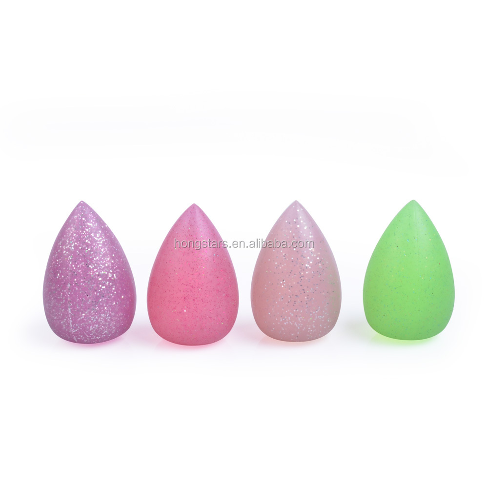 Meidao Beautiful glitter waterdrop make up sponge silicone cosmetic powder puff for face beauty