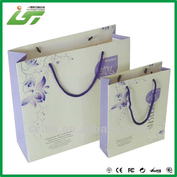 Hot sales cosmetics packaging paper bag with logo