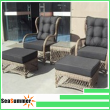 Extravagant rattan outdoor garden furniture club chair with ottoman cushion