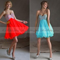Cheap Blue Red Chiffon Short Prom Graduation Homecoming Cocktail Dresses With Sweetheart Crystal Beaded Backless