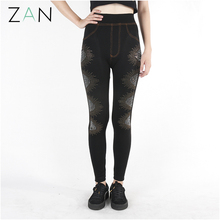 OEM wholesale sticked rhinestones tight fitness leggings for women