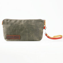 Durable waxed canvas travel hanging trolley makeup bag cosmetic bag for men