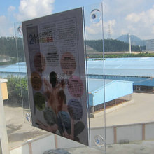Clear Polystyrene Double-sided Window Ad Frame, Glass Mount PETG Sign Holder, Acrylic Suction Cup Sign Holder