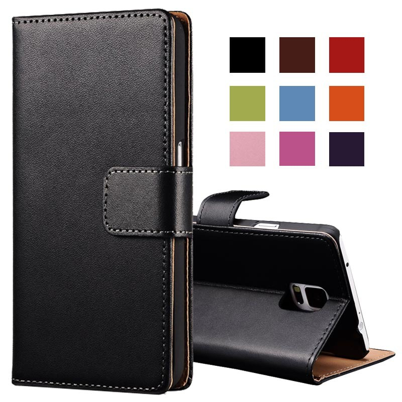 Real Genuine Leather case for Samsung Galaxy Note 4 Wallet Style Flip Stand Phone Back Cover with Card Slot