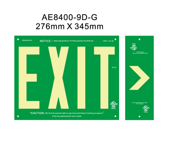 UL Photoluminescent emergency Exit sign for North American