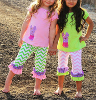 Kawaii clothing smocked children clothing wholesale top and pants ruffle outfit for kids boutique summer outfit