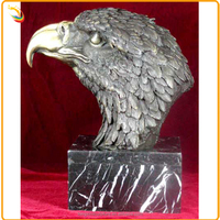 Life Size Bronze Animal Head Statue Bronze Eagle Head Sculpture With Marble Base