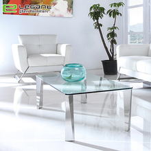 Irregular shaped stainless steel table legs glass coffee table center table