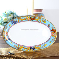 14 Inches Luxury Fine Bone China Oval Plate Dish of Song of Joy
