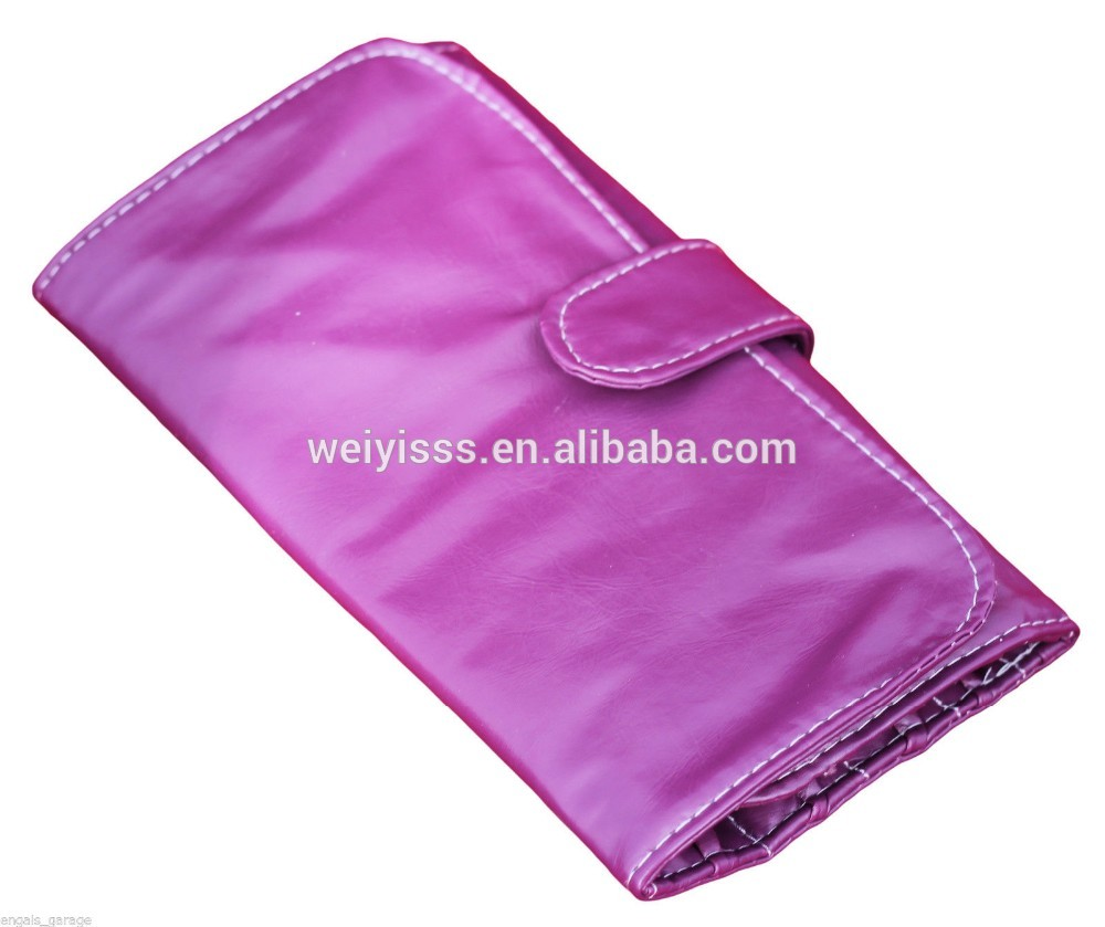 Purple/maroon makeup bag brush pouch soft pu leather for 10 piece set holder