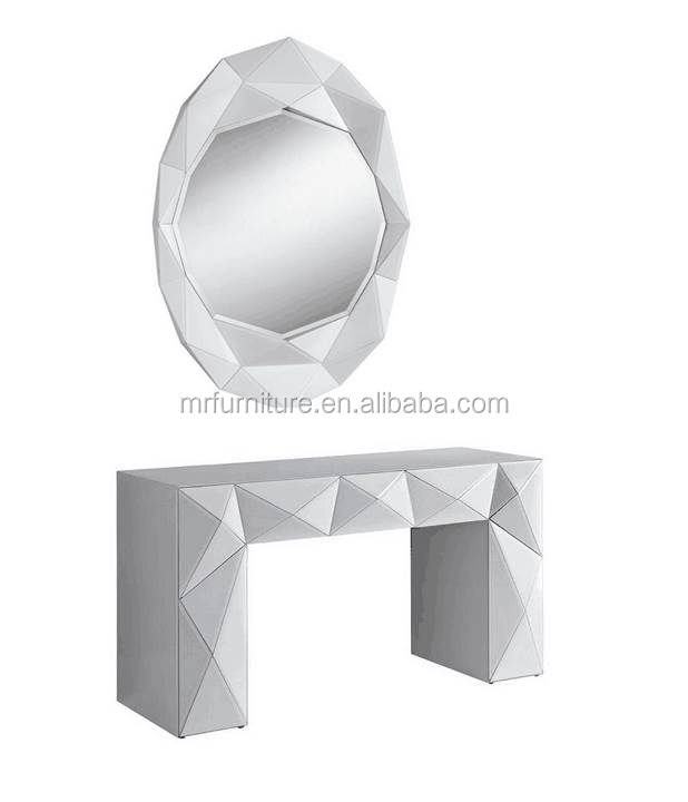 Diamond 3D Mirrored Console Table with Wall Mirror