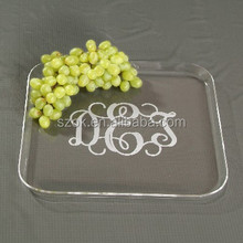 Clear luxury high quality acrylic fruit tray with custom logo