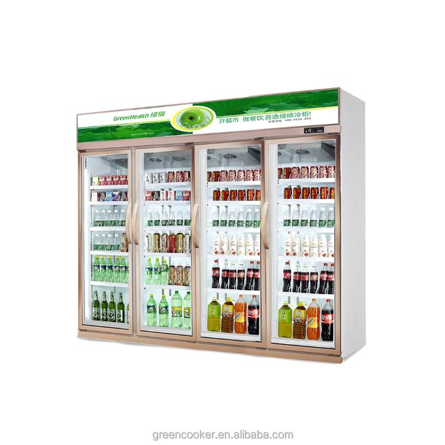 Luxury Upright Display Cooler Beverage Showcase 1600L Brand Compressor