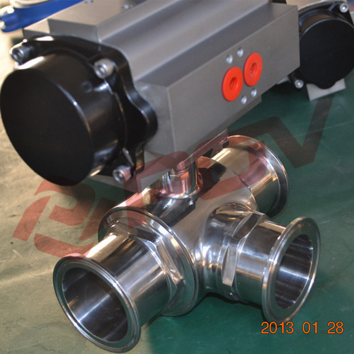 high quality Sanitary clamp ss304 3 way ball valve