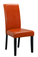 modern wooden legs antique dining chair leather red color