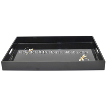 High quality best selling black lacquered dragonfly designed serving Rectangle Tray