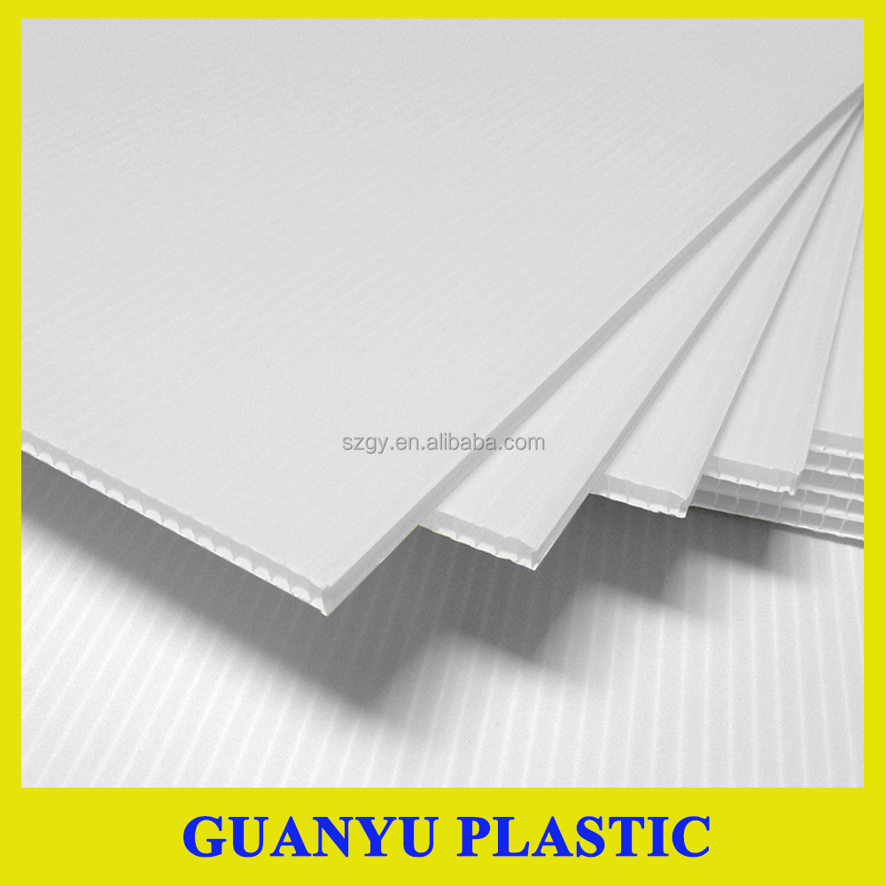 Light weight pp corrugated plastic sheet,danpla board,48X96 white coroplast