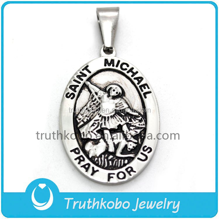 Religious Saint Michael Pray for Us Stainless Steel Silver St Angel Piece Pendants