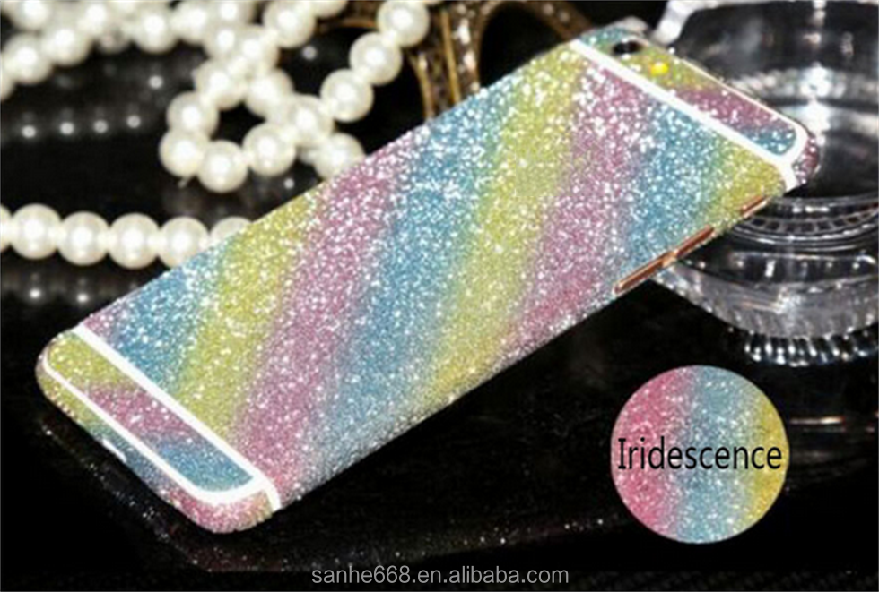 2016 hot selling mobile phone accessory flashing light glitter sticker for iphone 6 6s plus for samsung s7 edge