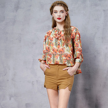 Summer new women wood ear wild strapless lantern sleeve long-sleeved hand design for saree blouse