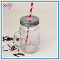 14oz Glass Drinking Jar Mason Jar with Straw and Handle