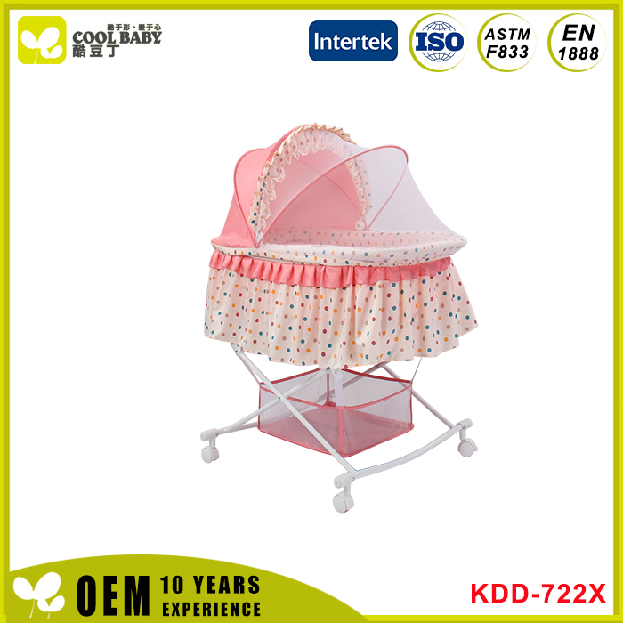 New products listed wholesale folding pink baby carriage crib bedding set