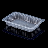 PP clean plastic biscuit tray with handle, disposable plastic mushroom tray wholesale with handle