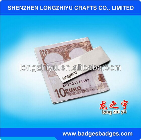 Newest promotional stainless steel metal money clip and card holder custom desktop business/name card holder