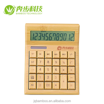 Bulk Eco-friendly smart 12 digits mini bamboo solar calculator