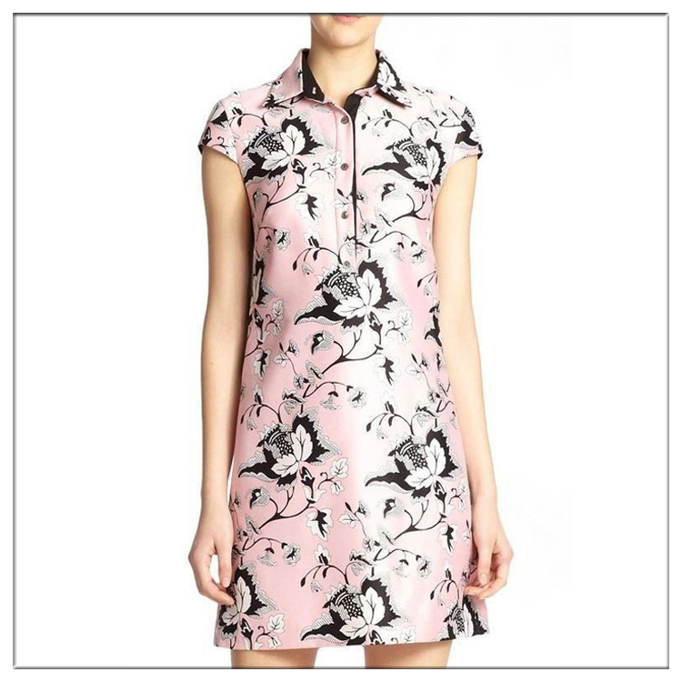 2016 Stylishly design digital printed short mini shirt dress for OEM service