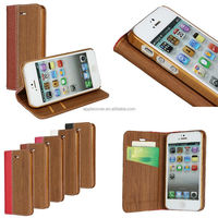 2014 newest fashionable Wooden pattern leather case for iphone 5s