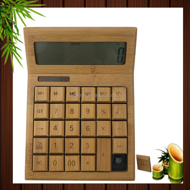 2018 Fashion 12 Digital Wooden Bamboo Scientific Calculator with Best Price and High Quality