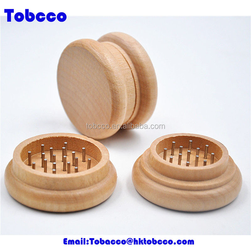 wholesale wood high quality round wooden grinder CNC teeth tobacco herb grinder weed
