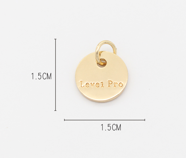 Wholesale custom letter engraving zinc alloy round gold charm and pendants