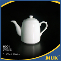 china supplies hotel sell white flower shape design porcelain ceramic tea pot
