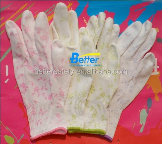 13 Guage Lady Flower Nylon PU Palm Coated Wholesale Work Gloves Direct Buy China