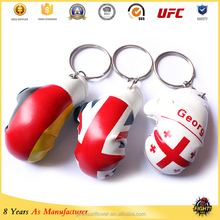 Wholesale 2016 hot item PVC mini boxing glove keychains with national flag or football club logo boxing glove