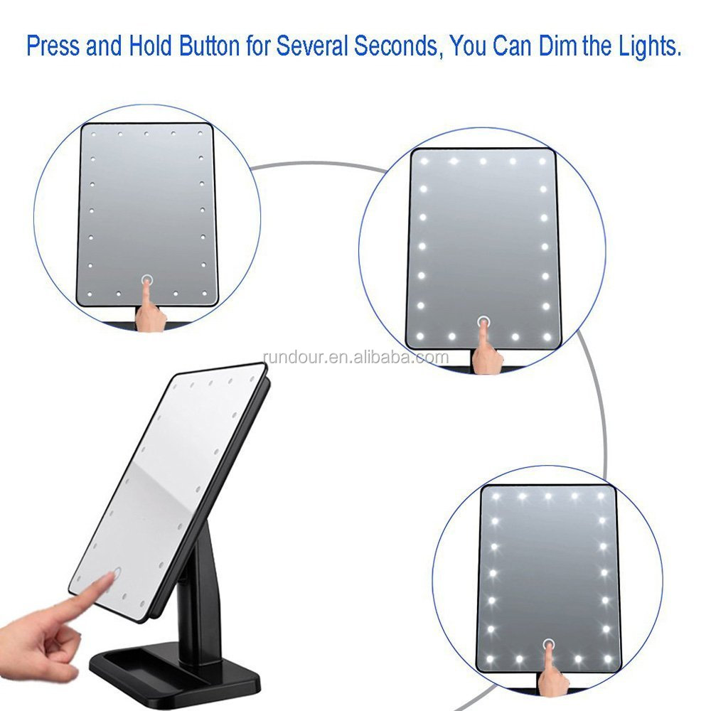 get it beauty Portable Makeup Mirror 20 LED Lights Touch Screen Light Make Up Cosmetic Tool 3 Colors