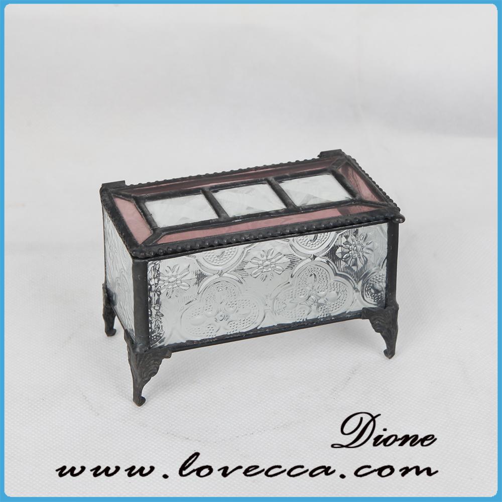 Vintage Lead Free Clear Glass Jewelry Box Glass Lid Jewelry Box