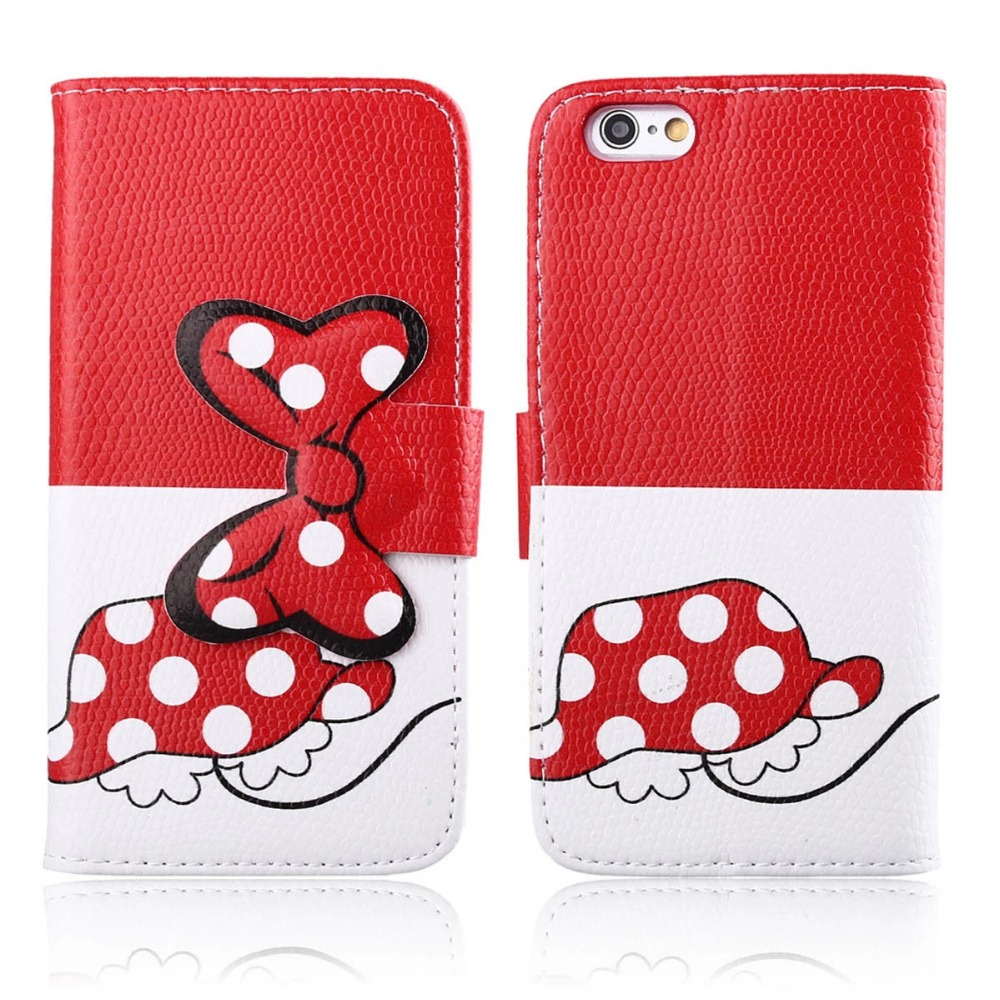 For iPhone 6 case, leather mobile phone stand wallet cases bowknot cell phone flip cover with card holder,case for iphone 6