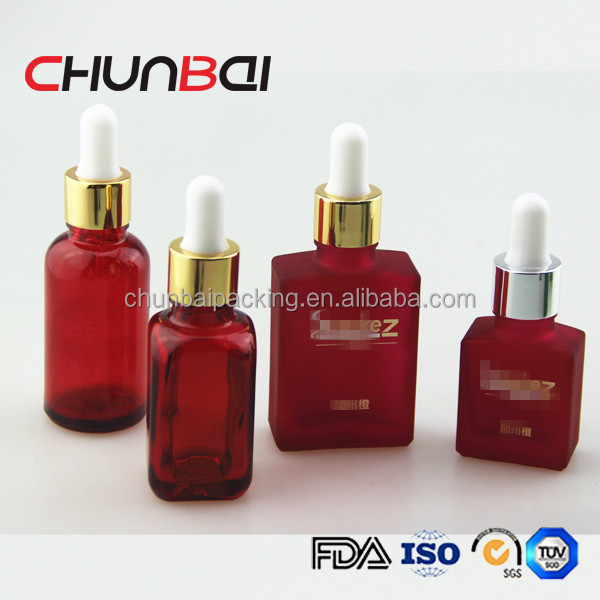 60ml red skull shape glass dropper bottle for e-juice with childproof and tamper evident cap