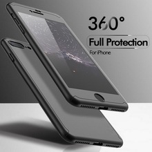 2017 New Arrival Hard Plastic Ultra thin 360 Full cover phone case Hybrid case with Tempered Glass cover for iphone 8 8P X