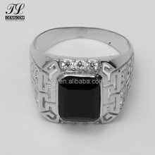 2018 Chinese style Black Onyx and cz wholesale men 925 silver ring
