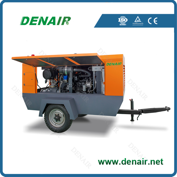 7 bar 190 cfm diesel air compressor for water well drilling rig